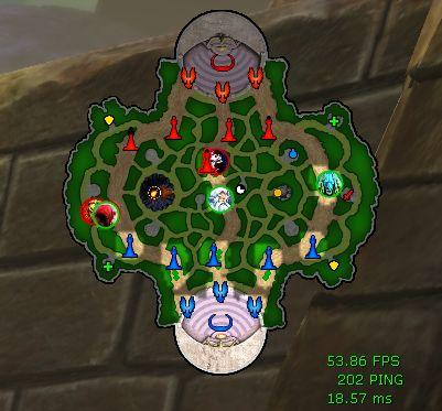 La map, affichée en haut à droite de l'écran, avec les tours, les phénix, le minotaure de chaque équipe, les camps de creeps, et la position des héros représentés par leur avatar.