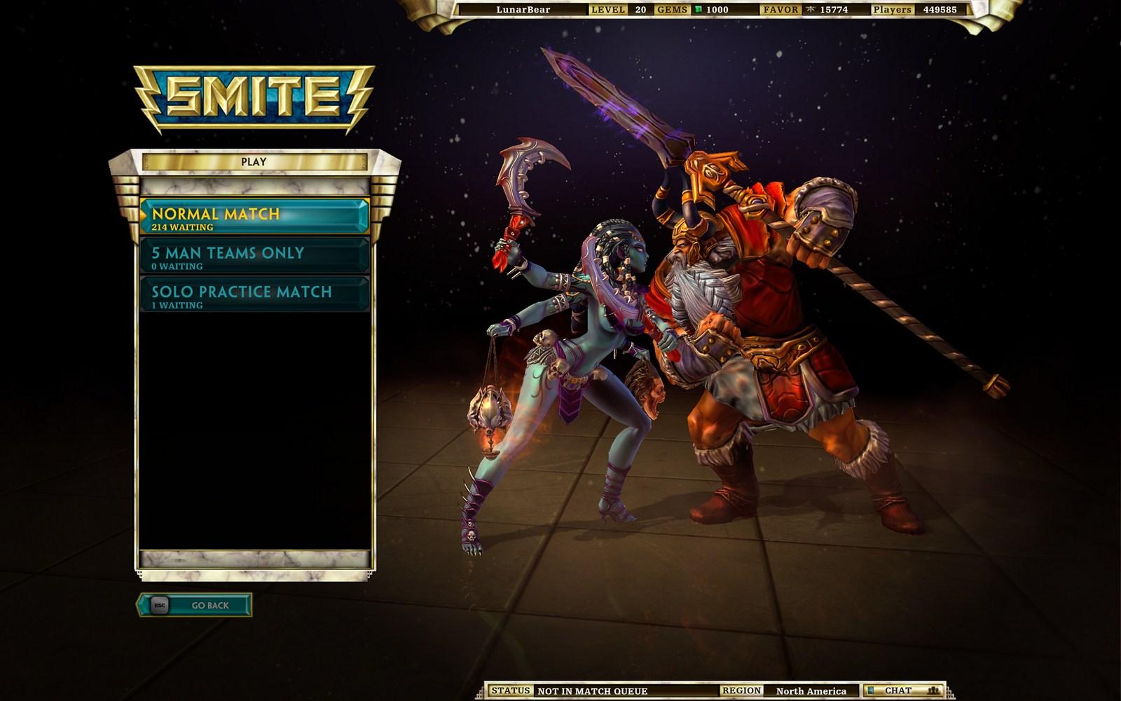 Le menu Play, où l'on choisit son type de partie, avec tout en haut le nom du compte, le niveau du joueur, les gemmes (monnaie IRL), la faveur (devise ingame) et le nombre de comptes actuels.