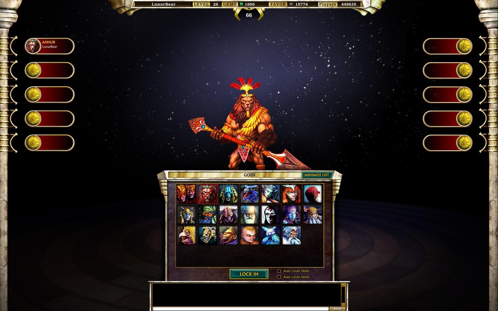 Les 20 Gods actuellement dans la beta.