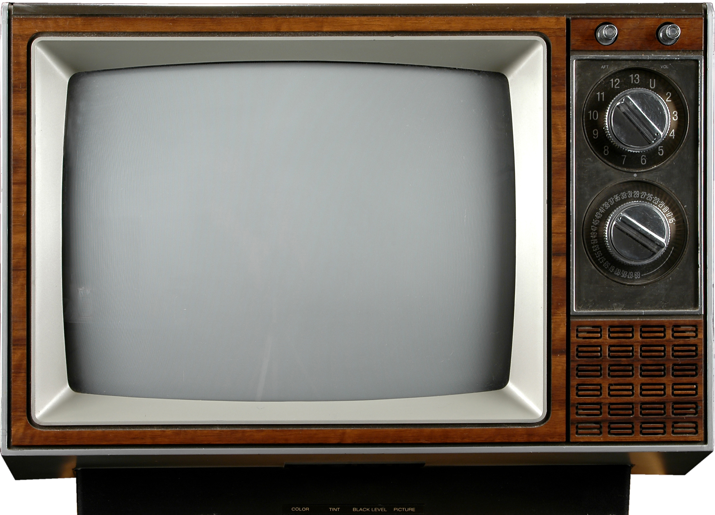 Old grungy Vintage TV with clipping path over a white background