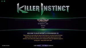 Killer Instinct PC Menu