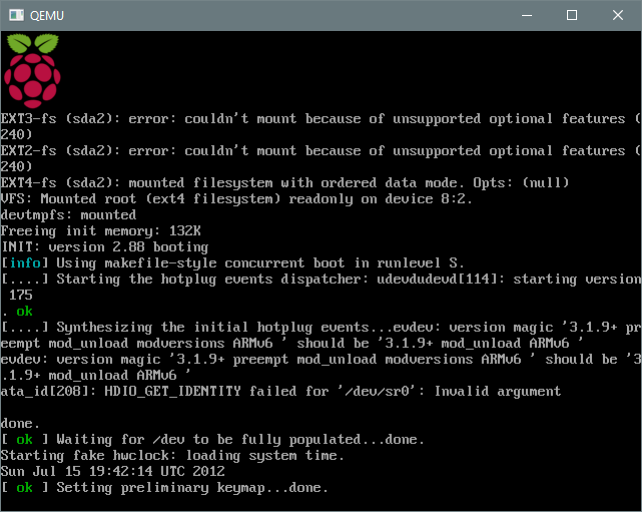 QEMU avec Raspbian (boot)