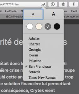 Reader - Safari Options