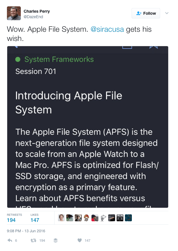 APFS Tweet