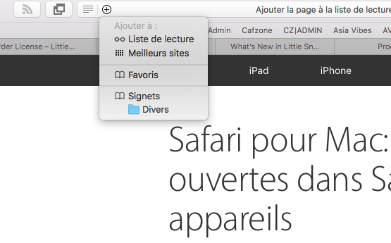 Safari Meilleurs sites