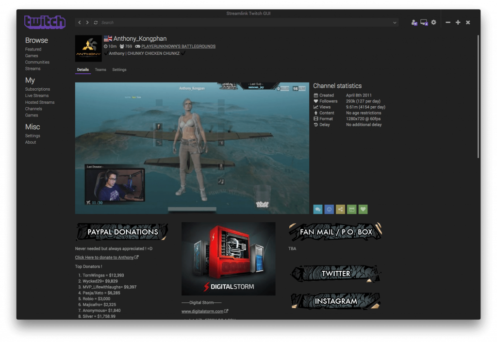 Streamlink Twitch GUI Streamer page