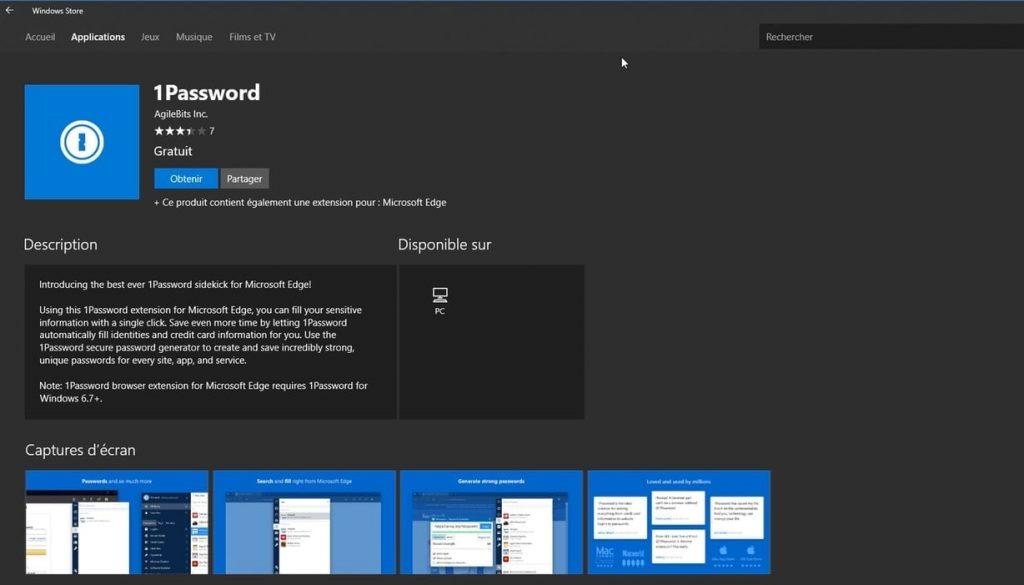 1password Edge Microsoft Store