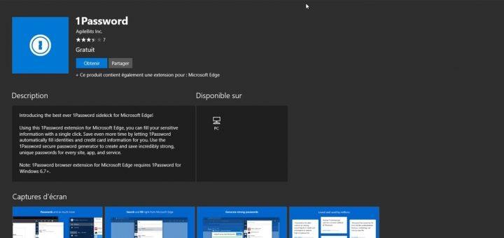1password Edge Microsoft Store
