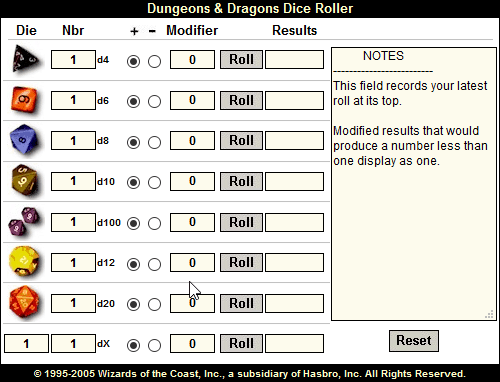 Dungeons & Dragons Dice Roller