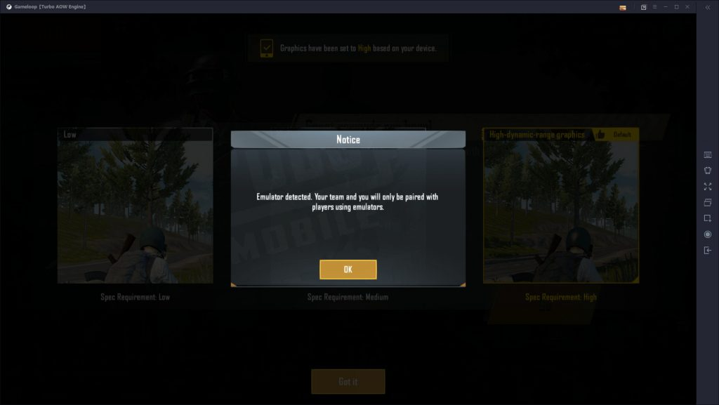 PUBG Mobile on PC detected